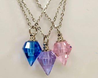 Blue, Purple or Pink Art Glass Prism Cremation Urn Necklace || Ashes Keepsake