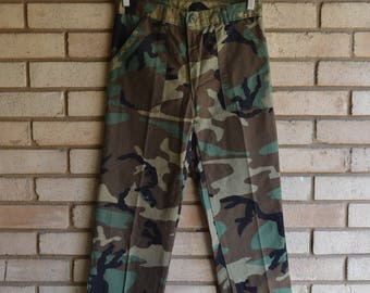 Vintage Slim Army Camo Trousers