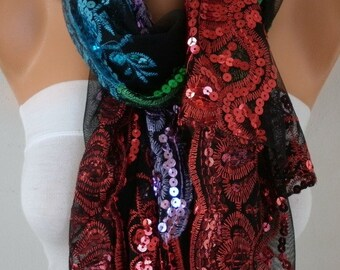 Black Tulle Colorful Sequin Scarf,Wedding Shawl,Church Lace Chapel Veil,Mantilla,Bridesmaid gift, Bridal Scarf Gift For Her Women Fashion