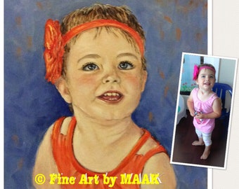 Custom Painted Portraits of babies, toddlers, children on canvas with acrylics