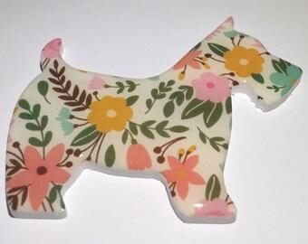 Scottish Highland Terrier Scottie Dog Hand Crafted Resin / Acrylic Brooch - 7 cm x 6 cm