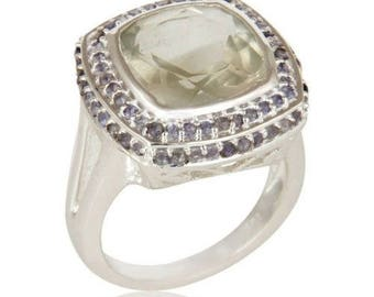 Silver ring with Amethyst and Iolite
