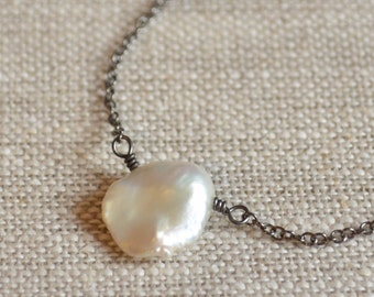 White Keishi Pearl Necklace, Natural Freshwater Pearl, Black Gunmetal Chain, Wire Wrapped, Simple Beach Jewelry
