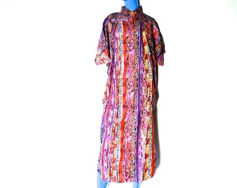 Vintage 80s Tribal Print Dress, Short Sleeve Button Up Dress, Bohemian Style, Zashi New Old Stock