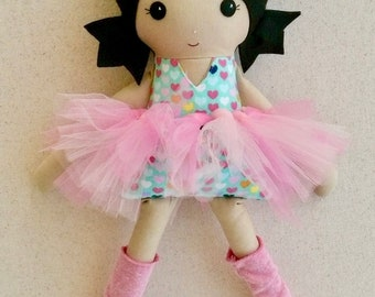 Fabric Doll Rag Doll 20 Inch Black Haired Girl in Flannel Heart Top, Pink Tutu, and Pink Leg Warmers