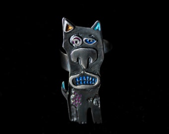 FRANK THE DOG, Handmade Sterling Silver (925) Dog Ring, Patinated, Hand Painted, Hand Engraved, Adjustable, Easter Gift