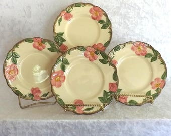 Set of 4 Vintage Franciscan Earthenware Bread and Butter Dishes - Desert Rose Pattern - USA Back St& - by Gladding McBean Co. : franciscan dinnerware - pezcame.com