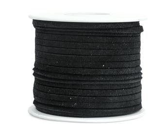 Suede Lacing - (1) 25 yard (75 foot) spool, 1/8th inch lace. Black Suede lace. (3218x25BL)