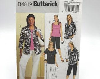 Butterick 4819 Womens Plus Size Petite Shirt Tops Shorts and Pants Size 26W 32W Uncut Sewing Pattern