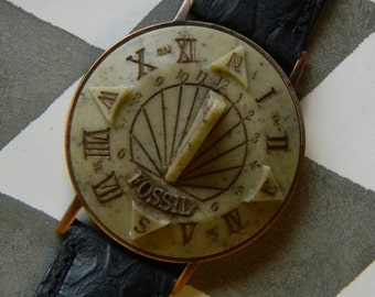 Cool Vintage Sundial Watch - Manufactured by Fossil - Apparently Unworn - With Original Fossil Brand Leather Band