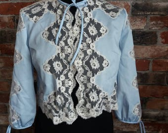 Baby blue lace Vintage jacket Size Small/Medium