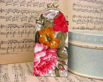 Modern eyeglass case with flowers, kiss lock case