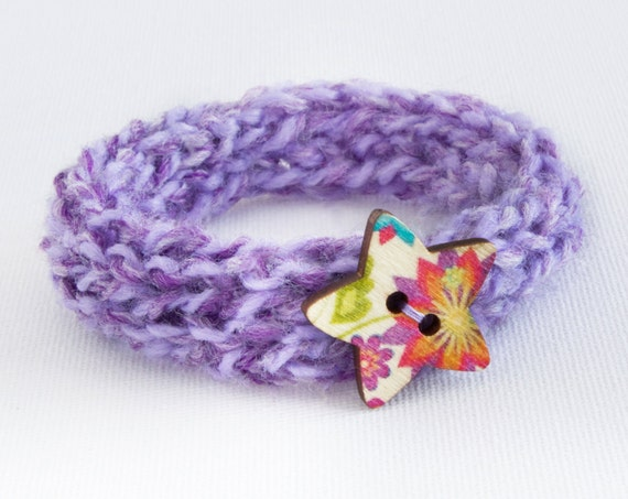 Lavender Button Bangle • Secret Santa gift • Knitted Wrist Accessories Bracelet • Textile Jewellery Bangle gift for nieces, wives, friends