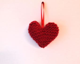 Red Knitted Hanging Heart Decorations