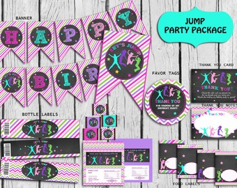 Jump Party Package PERSONALIZED Girls, Trampoline Party Decorations,Bounce Birthday,Bounce Party Supplies,DIY Party Printable