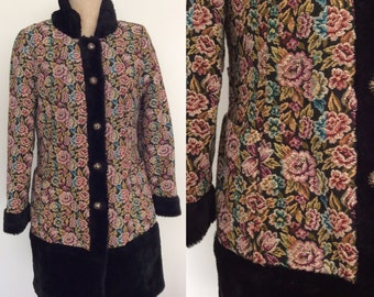 1970's Floral Tapestry Faux Fur Trim Coat Size Small Medium by Maeberry Vintage