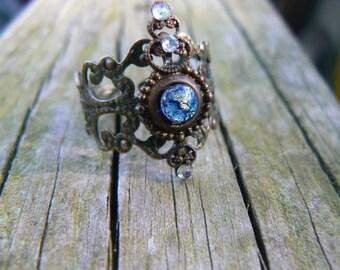 midi ring blue harlequin armor ring knuckle ring nail ring claw ring  finger tip ring  vampire goth victorian moon goddess pagan boho gypsy
