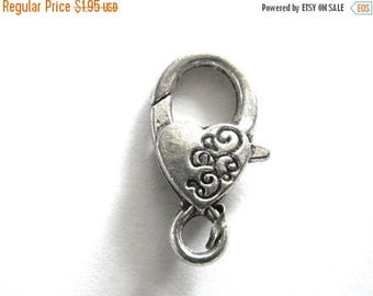"HALF PRICE Large Silver Heart Lobster Clasp (1"")"