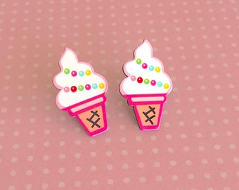 Completely Adorable Kawaii Pink Soft Serve Ice Cream Cone with Colorful Rainbow Sprinkles Novelty Stud Earrings, Surgical Steel