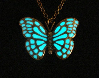 Butterfly Necklace Glow In The Dark Necklace Antique Bronze