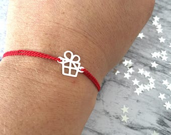 925 silver plated bracelet and red nylon cord