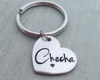 Heart keychain, hand stamped heart keychain,  personalized initial key ring