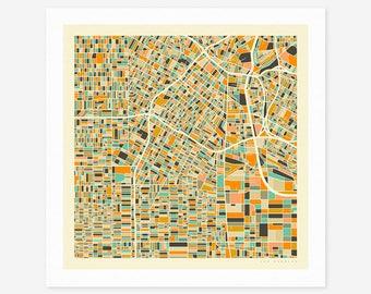 LOS ANGELES MAP (Giclée Fine Art Print/Photo Print/Poster Print) by Jazzberry Blue (ivory version)
