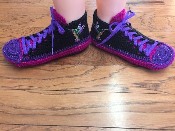 Crocheted hummingbird slippers shoe 6 8 sneakers hummingbird pink slippers tennis sneaker 296 Womens slippers crochet purple hummingbird qUrRxgqPf