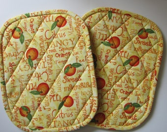 Oranges, oranges oranges potholders - set of 2