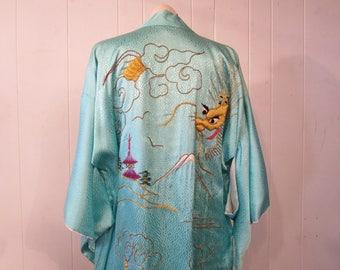 Vintage kimono, asian robe, gold embroidered kimono, dragon,mountain, vintage robe, vintage clothing, large