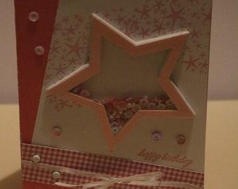 Pink Birthday Star Shaker Card