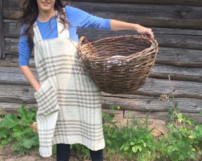 Tartan Pinafore Apron, Crafts Apron, Womens Apron, Vintage, Handmade, Cross over apron, Japanese Apron, Long Linen Apron, Kitchen Apron