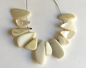 Drilled Off White Mother of Pearl Beads or Pendants - 12 pieces