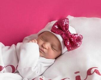 Raspberry bow white Newborn Girl hat.newborn baby hat.raspberry newborn hat.new baby hat.baby girl hat..take home hat.newborn photo prop hat