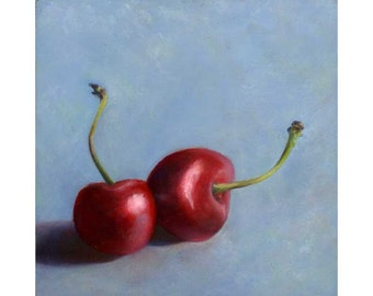 Cherry Kiss - square art print of oil painting reproduction of still life painting / fruit art