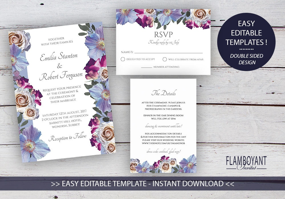 Bouquet suite printable wedding invitation rsvp details card bouquet suite printable wedding invitation rsvp details card editable templates roses and anemones printable instant download stopboris Images