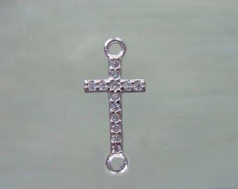 1 pc, 18x8mm, 925 Sterling Silver Diamond CZ Small Cross Connector Link, Sideways Cross, CC-0127