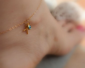 Anklet cross, gold eye anklet, Greek anklet, Summer foot bracelet, Cross foot bracelet