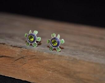 Green turtle earrings girls earrings enamel painted earrings vintage turtle stud earrings  - 1215