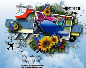 Flying theme Digital Scrapbook kit with planes : FLYING HIGH kit. 20 x Papers 56 x Clipart embellishments