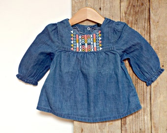 baby DRESS - 3 months - demin DRESSES, jeans TOP hobo clothing long sleeves dress baby clothes baby girls apparel