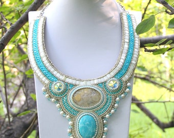 Necklace An Infinite Sea beadwork jewelry hand made Beadwork embroidered Romantic necklace bead embroidery necklace with pearl and larimar
