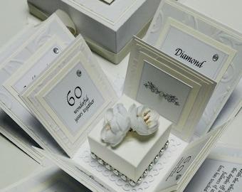 Exploding 60th Diamond Wedding Anniversary Box Card