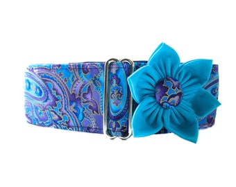 2 Inch Martingale Collar with Collar Flower Purple Martingale Collar Paisley Martingale Collar Paisley Dog Collar, Purple Paisley Dog Collar