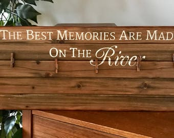 The Best Memories Are Made At the River Wooden Pallet Clothespin Frame