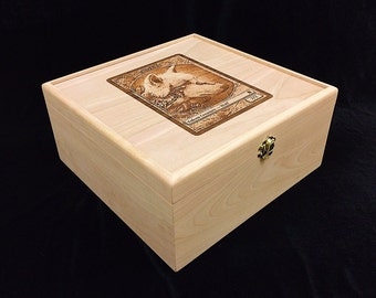 Magic the Gathering Engraved Deck Box with Hinges & Latches-10 3/4 x 10 5/8 x 5- Wolf Token Card