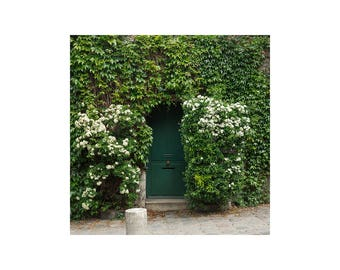 Square Photography Print - Green Door with Ivy - Paris Wall Art - Paris bedroom Decor