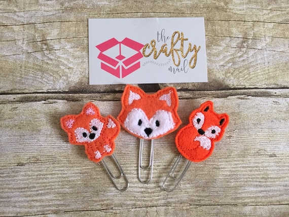 Foxy Paper Planner Clips set of 3. Woodland planner clip. Animal planner clip