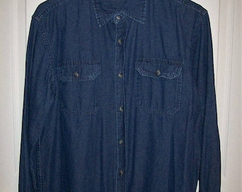 Vintage Men's Blue Jean Denim Long Sleeve Shirt by Wrangler Medium Only 9 USD