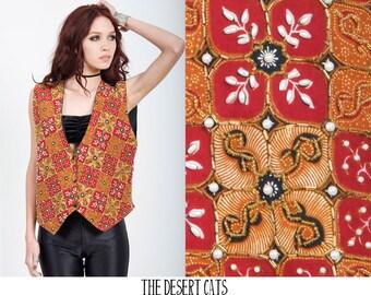 vintage 80s vest vintage 1980s boho bohemian beaded vest vintage hippie festival vest